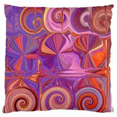 Candy Abstract Pink, Purple, Orange Large Flano Cushion Case (One Side)