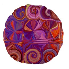 Candy Abstract Pink, Purple, Orange Large 18  Premium Flano Round Cushions
