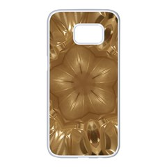 Elegant Gold Brown Kaleidoscope Star Samsung Galaxy S7 edge White Seamless Case