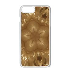 Elegant Gold Brown Kaleidoscope Star Apple Iphone 7 Plus White Seamless Case
