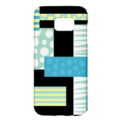 Blue collage Samsung Galaxy S7 Edge Hardshell Case