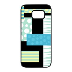 Blue collage Samsung Galaxy S7 edge Black Seamless Case