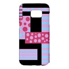 Pink collage Samsung Galaxy S7 Edge Hardshell Case