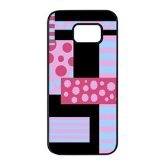 Pink collage Samsung Galaxy S7 edge Black Seamless Case