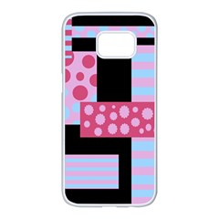 Pink collage Samsung Galaxy S7 edge White Seamless Case