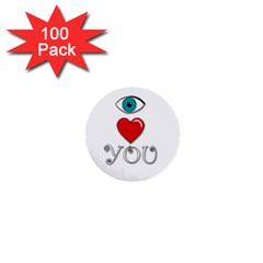 I Love You 1  Mini Buttons (100 Pack)