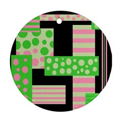 Green and pink collage Ornament (Round)