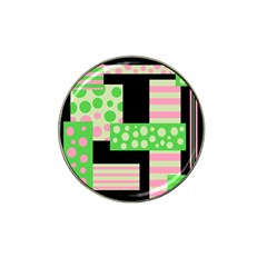 Green And Pink Collage Hat Clip Ball Marker (4 Pack)