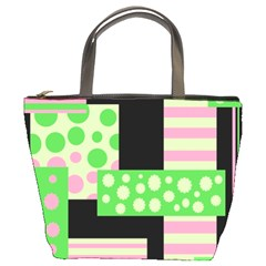 Green and pink collage Bucket Bags