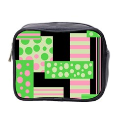 Green And Pink Collage Mini Toiletries Bag 2 Side