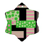 Green and pink collage Ornament (Snowflake)  Front