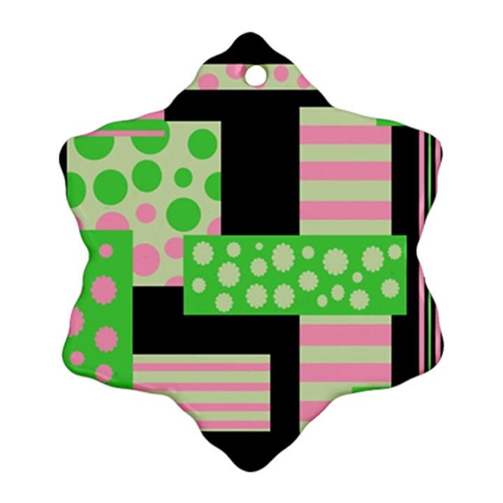 Green and pink collage Ornament (Snowflake)