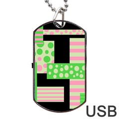 Green And Pink Collage Dog Tag Usb Flash (two Sides)