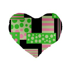 Green And Pink Collage Standard 16  Premium Heart Shape Cushions