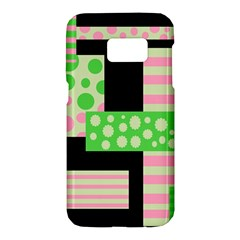 Green and pink collage Samsung Galaxy S7 Hardshell Case
