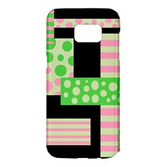 Green and pink collage Samsung Galaxy S7 Edge Hardshell Case