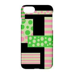 Green And Pink Collage Apple Iphone 7 Hardshell Case