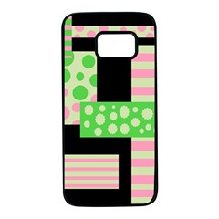 Green And Pink Collage Samsung Galaxy S7 Black Seamless Case