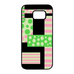 Green and pink collage Samsung Galaxy S7 edge Black Seamless Case