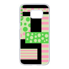 Green and pink collage Samsung Galaxy S7 edge White Seamless Case