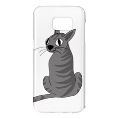 Gray cat Samsung Galaxy S7 Edge Hardshell Case