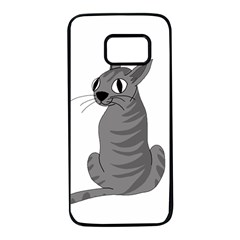 Gray cat Samsung Galaxy S7 Black Seamless Case