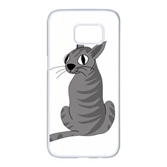 Gray cat Samsung Galaxy S7 edge White Seamless Case