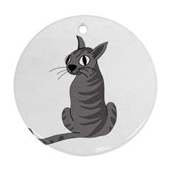 Gray cat Ornament (Round)