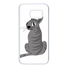 Gray cat Samsung Galaxy S7 White Seamless Case