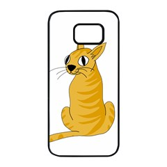 Yellow Cat Samsung Galaxy S7 Edge Black Seamless Case