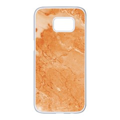 Rose Gold Marble Stone Print Samsung Galaxy S7 Edge White Seamless Case