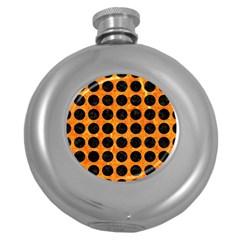 Circles1 Black Marble & Orange Marble (r) Hip Flask (5 Oz)