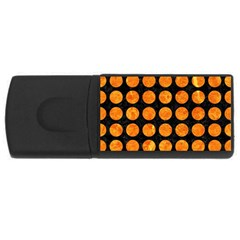 Circles1 Black Marble & Orange Marble Usb Flash Drive Rectangular (4 Gb)