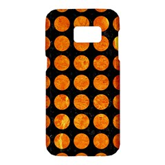 Circles1 Black Marble & Orange Marble Samsung Galaxy S7 Hardshell Case
