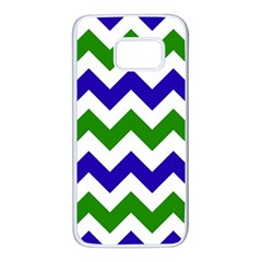 Blue And Green Chevron Samsung Galaxy S7 White Seamless Case