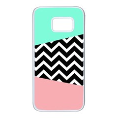 Chevron Green Black Pink Samsung Galaxy S7 White Seamless Case