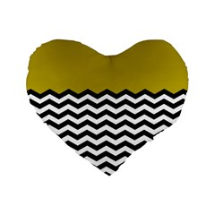 Colorblock Chevron Pattern Mustard Standard 16  Premium Heart Shape Cushions