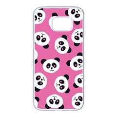 Cute Panda Pink Samsung Galaxy S7 edge White Seamless Case