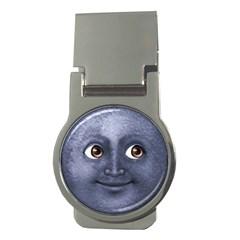 Dark Blue Moon Emoji Money Clip (round)