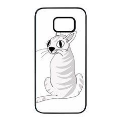 White cat  Samsung Galaxy S7 edge Black Seamless Case