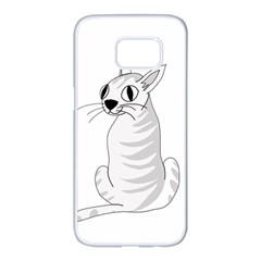 White cat  Samsung Galaxy S7 edge White Seamless Case