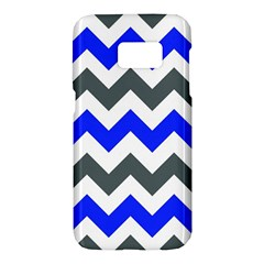 Grey And Blue Chevron Samsung Galaxy S7 Hardshell Case