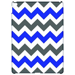 Grey And Blue Chevron Apple iPad Pro 12.9   Hardshell Case