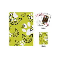 Face Cat Green Playing Cards (mini)