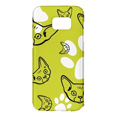Face Cat Green Samsung Galaxy S7 Edge Hardshell Case