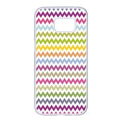 Color Full Chevron Samsung Galaxy S7 Edge White Seamless Case