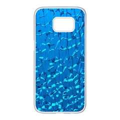 Shattered Blue Glass Samsung Galaxy S7 edge White Seamless Case