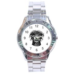 Fantasy Monster Head Drawing Stainless Steel Analogue Watch