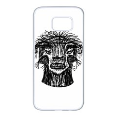 Fantasy Monster Head Drawing Samsung Galaxy S7 Edge White Seamless Case