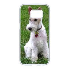 Wire Fox Terrier Sitting Samsung Galaxy S7 edge White Seamless Case